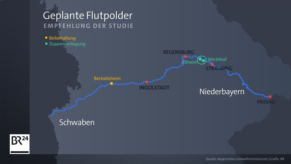 BR24-Grafik: Flutpolder an der Donau