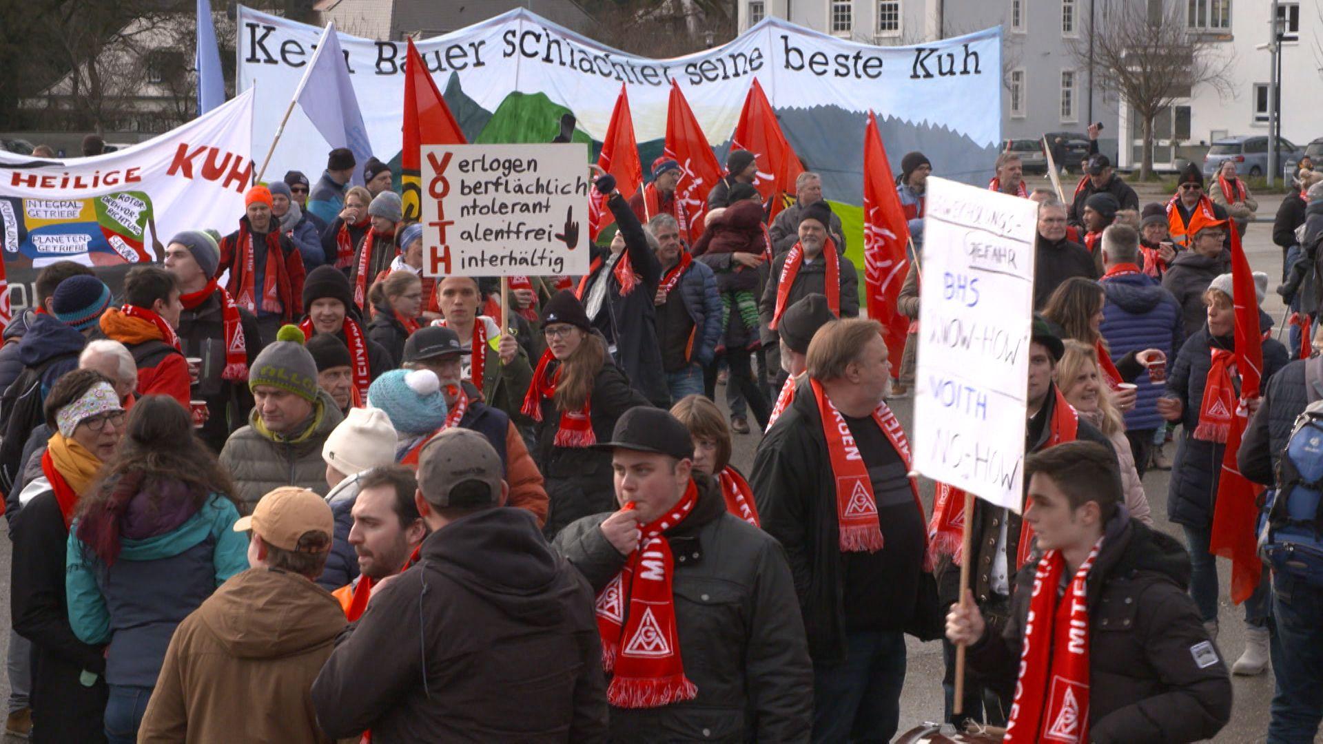 Proteste gegen Werksschließung in Sonthofen.