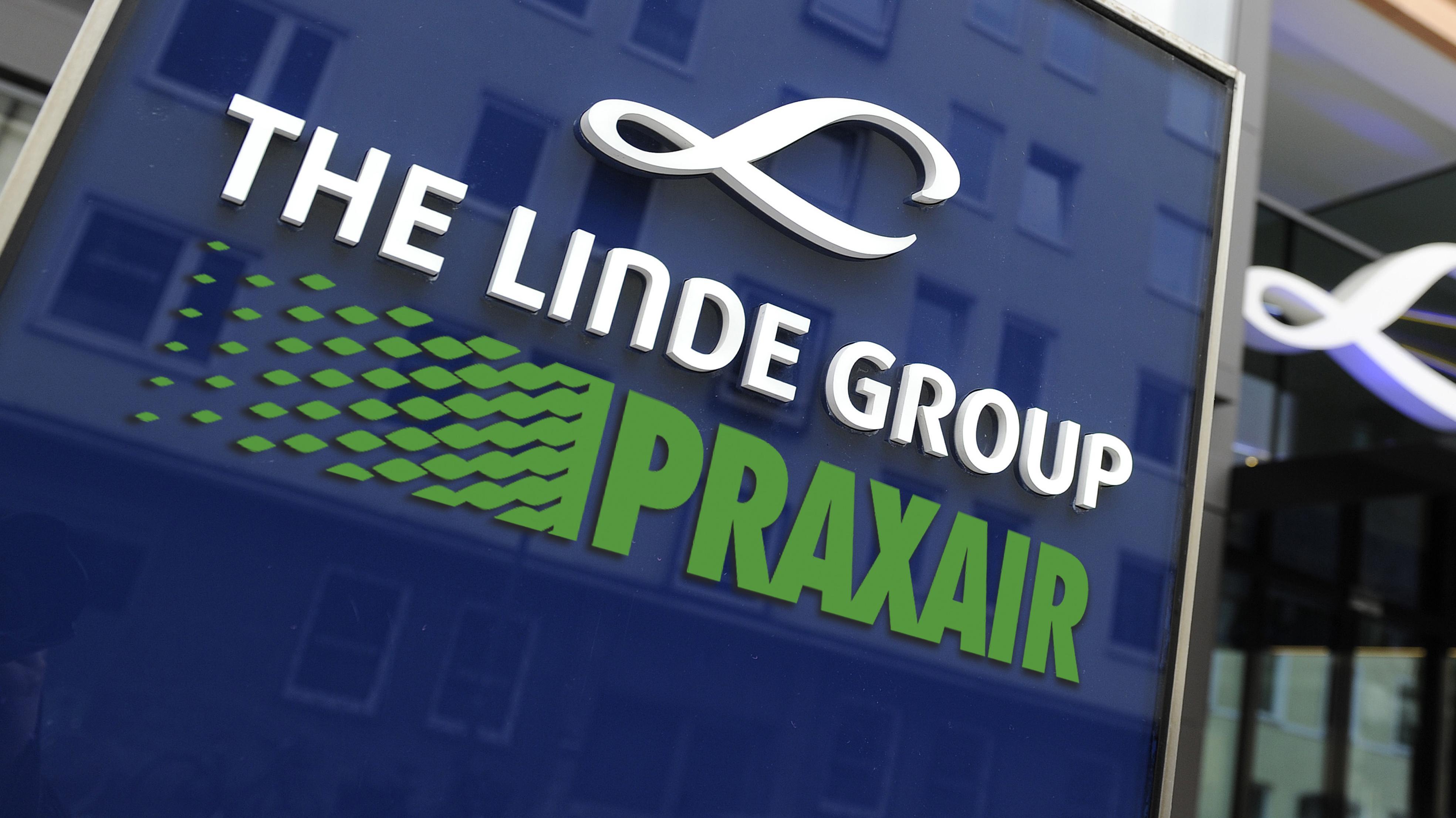 Fotomontage mit einem Logo von Linde und Praxair
