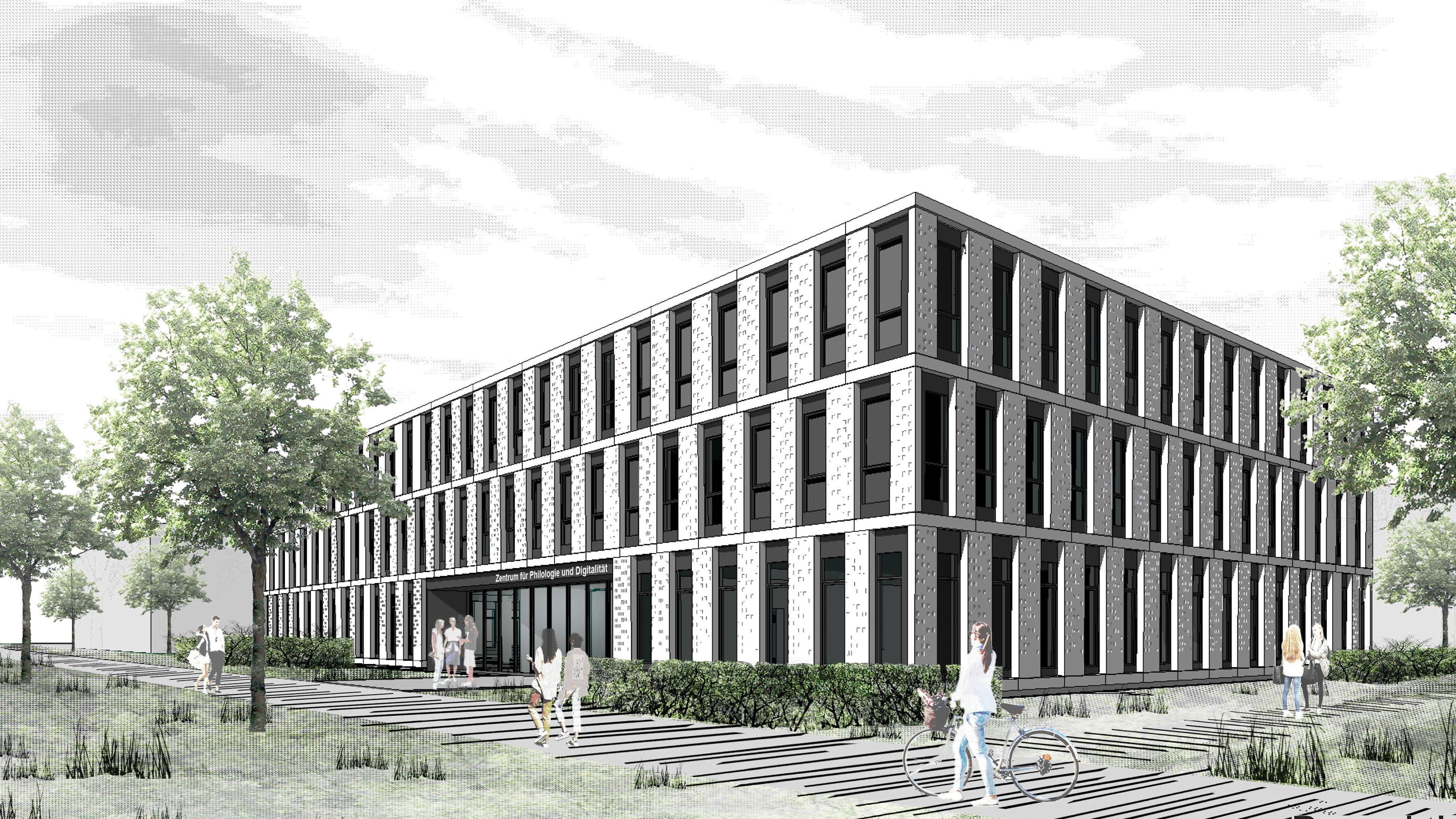 So wird das Zentrum für Philologie und Digitalität aussehen. Der Entwurf stammt vom Architekturbüro Auer und Weber Architekten BDA aus Stuttgart.