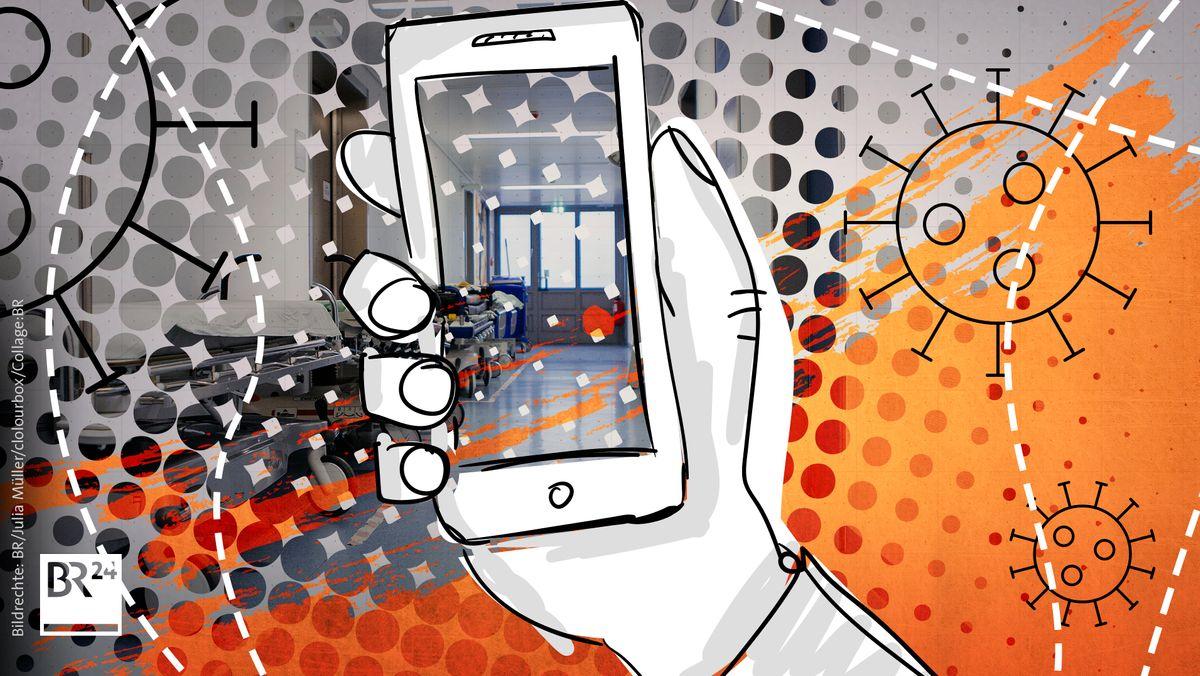gezeichnete Hand hält Handy, auf dem im Realbild ein leerer Klinikflur zu sehen ist