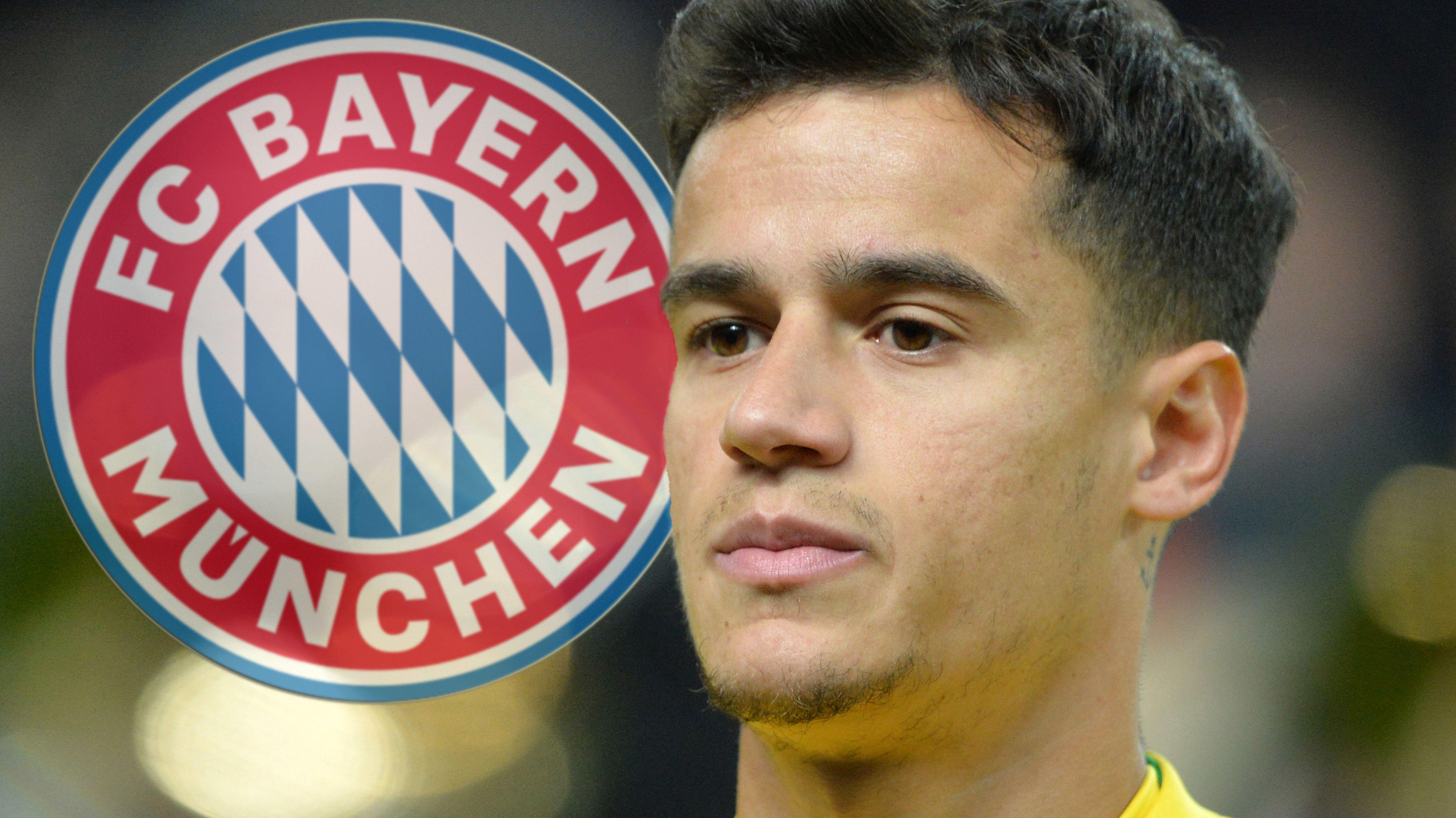 Philippe Coutinho und FC-Bayern-Wappen