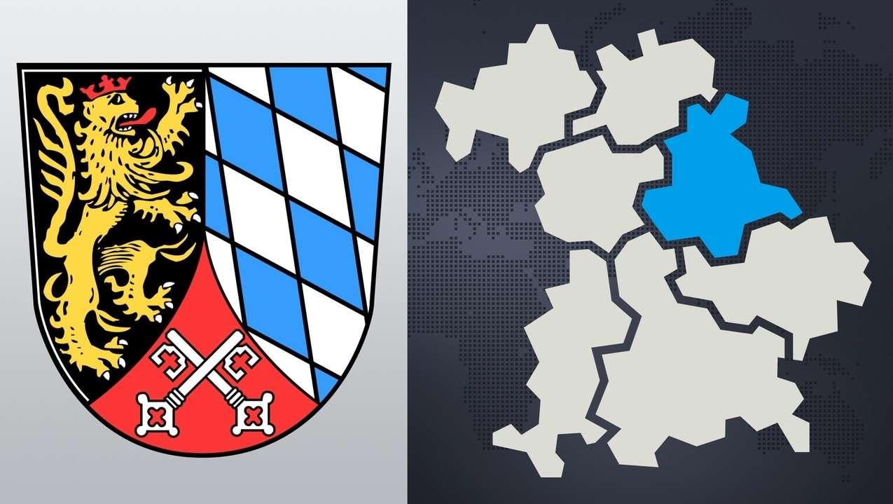 Wappen der Oberpfalz und eine Landkarte von Bayern.