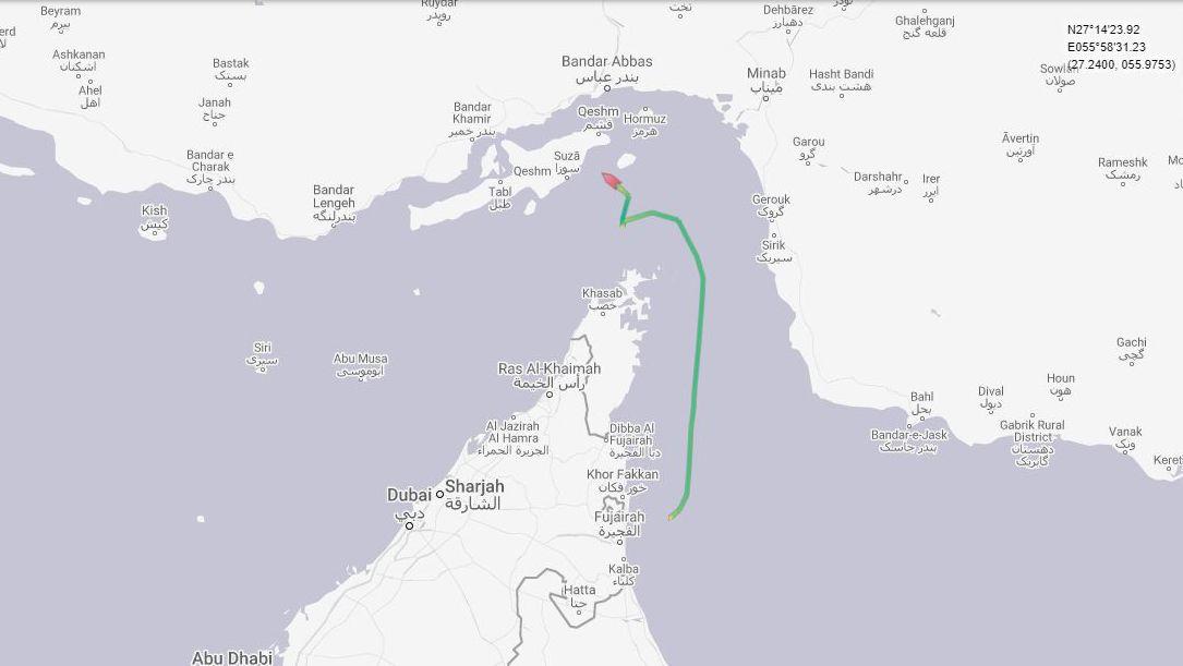 Dieser Screenshot der Webseite Marine Traffic zeigt die Route des britischen Öltankers Stena Impero, welches auf dem Weg nach Saudi-Arabien von den Iranischen Revolutionsgarden gestoppt wurde, und nun nach Norden in Richtung Iran zu fahren scheint.