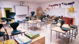 Blick in ein leeres Klassenzimmer   Bild:pa/Dpa