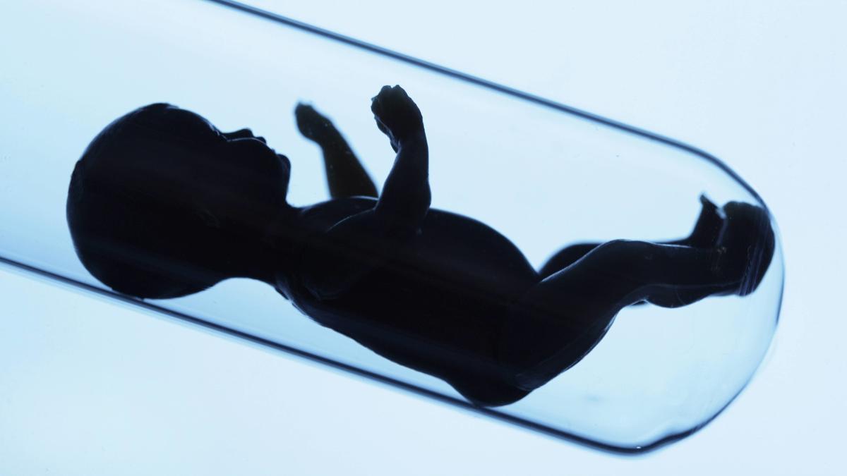 Babypuppe in einem Reagenzglas