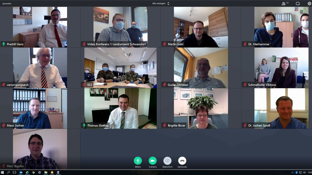 Die tägliche Videokonferenz im Landratsamt Schwandorf