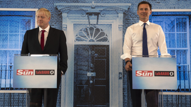 15.07.2019, Kandidaten um das Rennen des Parteichefs der Konservativen Partei, Boris Johnson und Jeremy Hunt