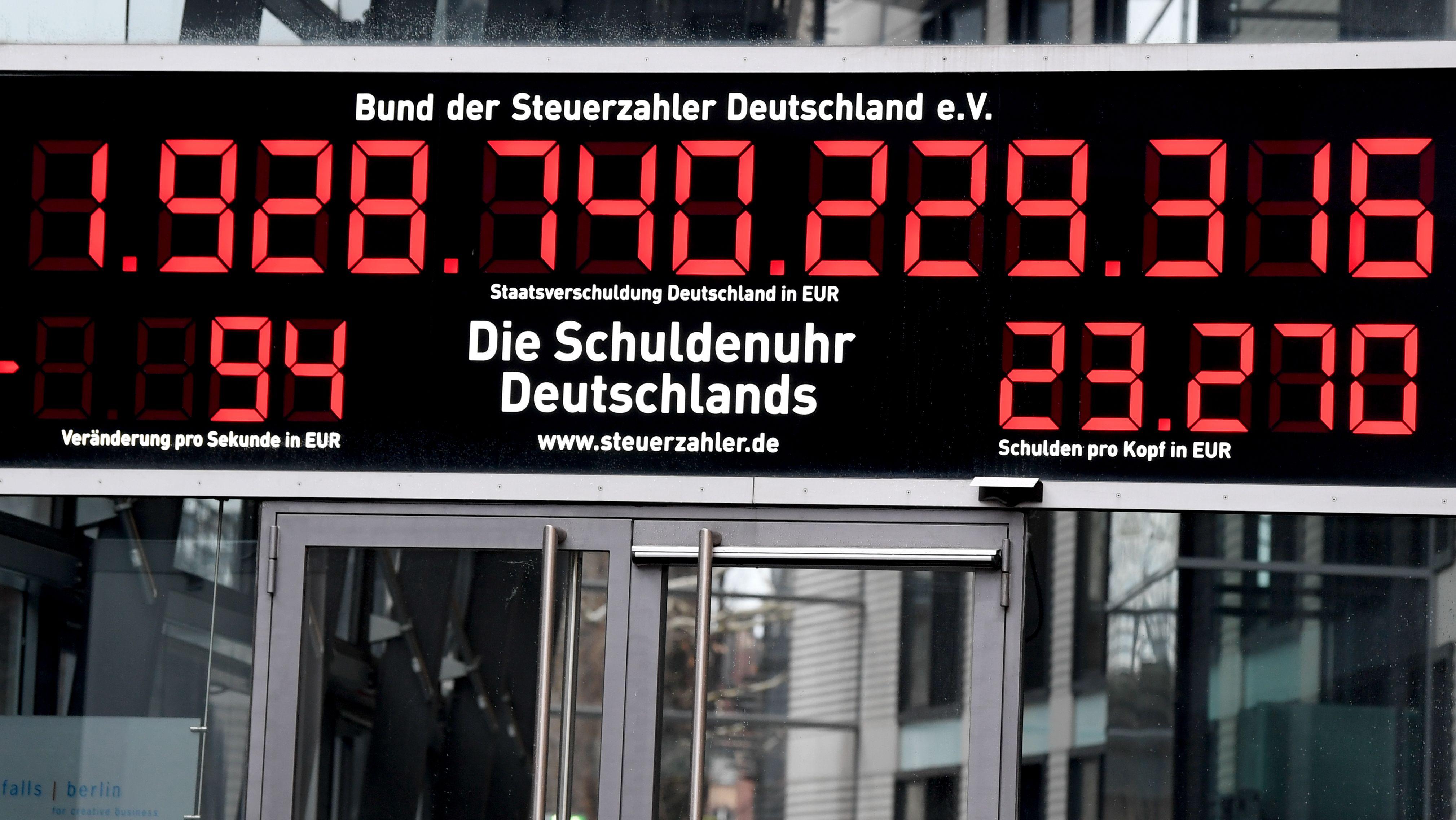 9.1.2019: Die Schuldenuhr vom Bund der Steuerzahler Deutschland e.V. wurde auf -94 Euro/Sekunde umgestellt.