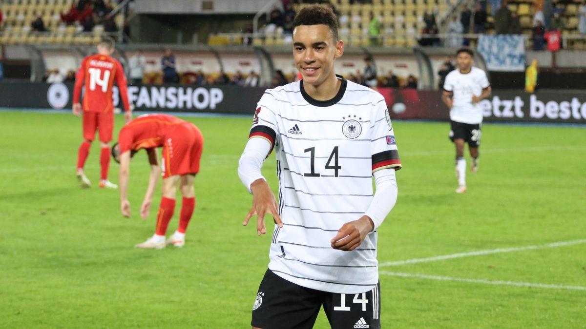Jamal Musiala nach seinem ersten Länderspieltor