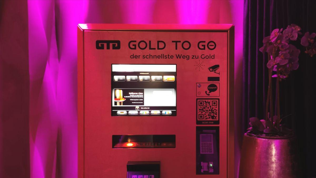 Der Goldautomat in der H'ugo's Pizza-Bar-Lounge am Münchner Promenadeplatz.
