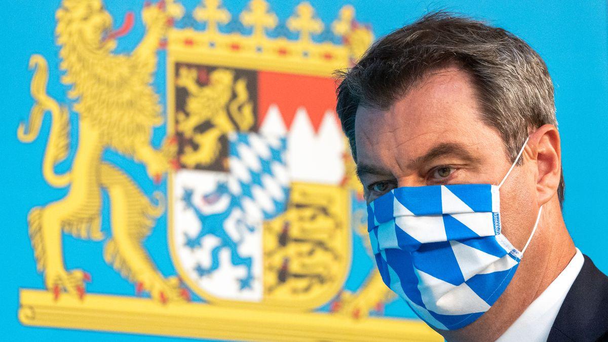 Bayern Ministerpräsident Markus Söder am 27.07.2020 auf einer Pressekonferenz zu Maßnahmen gegen die Corona-Pandemie.