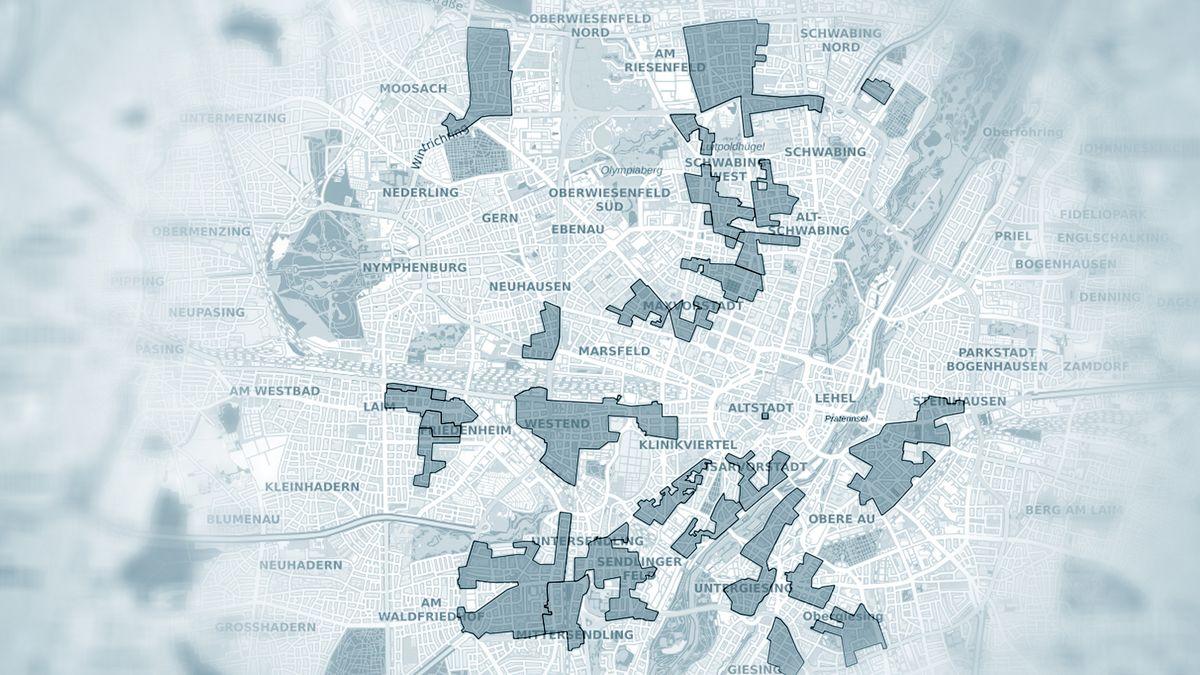 Eine Karte der Gebiete mit Erhaltungssatzung in München (Stand 12.07.2020)