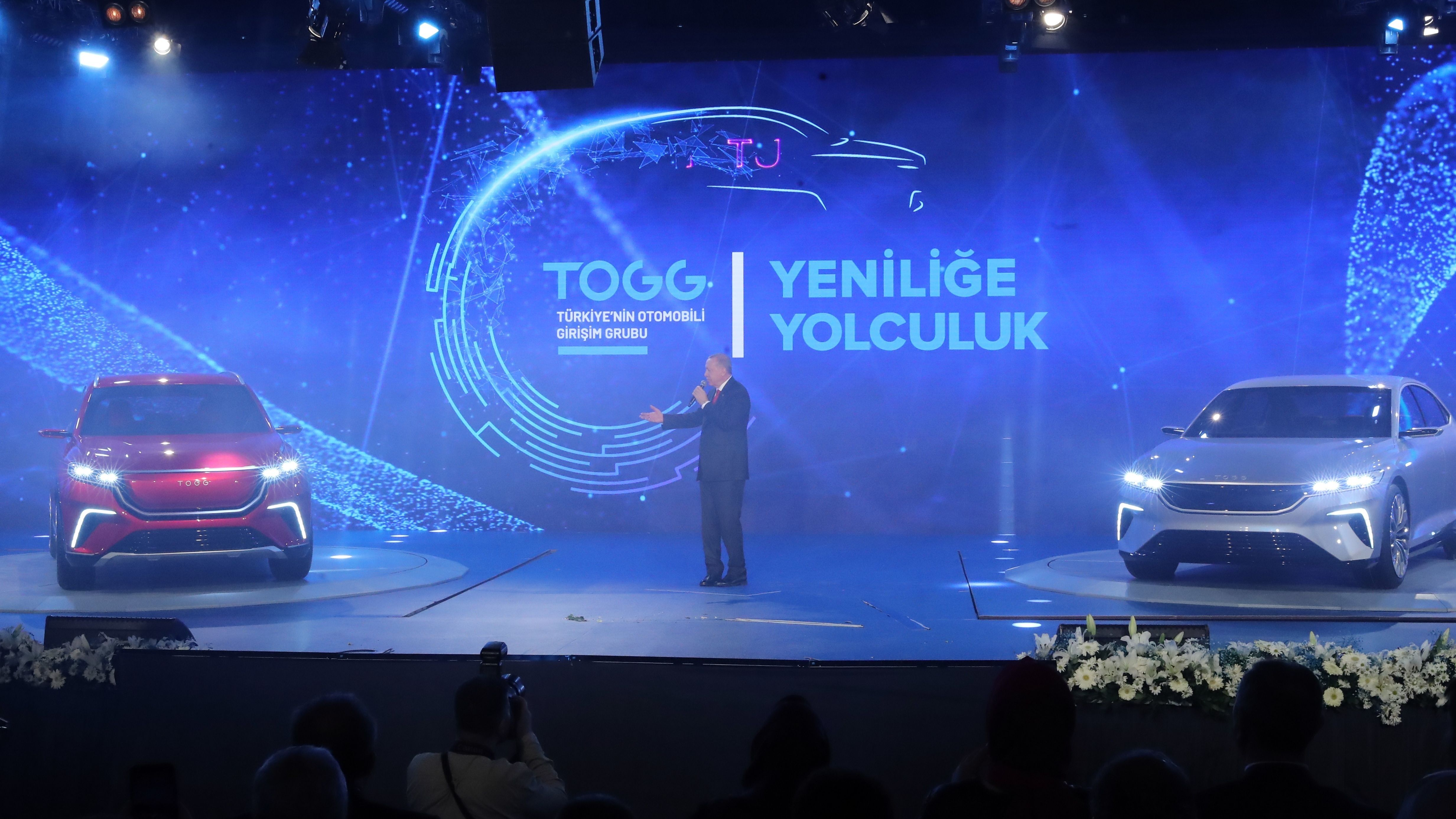 Erdogan bei der Präsentation des türkischen E-Autos.