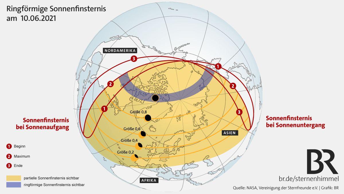 Ringförmige Sonnenfinsternis am 10. Juni 2021. Der spektakuläre Sonnenring ist nur im blauen Bereich sichtbar.
