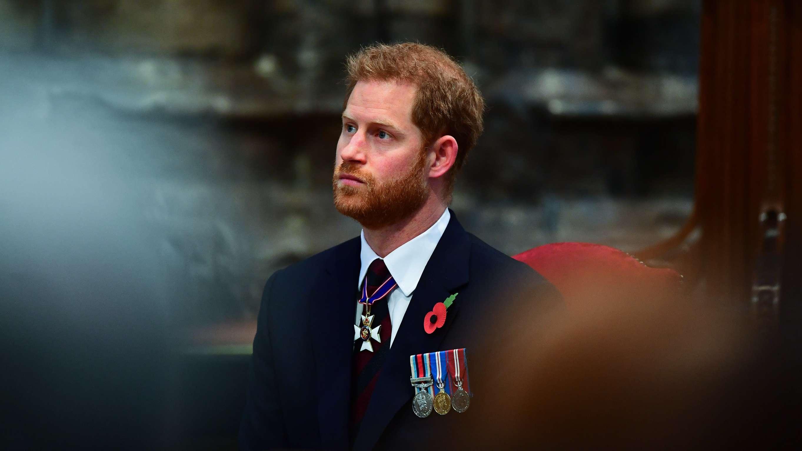 25.04.2019, Großbritannien, London: Der britische Prinz Harry nimmt am ANZAC-Gedenktag am Gedenkgottesdienst in der Westminster Abbey teil.