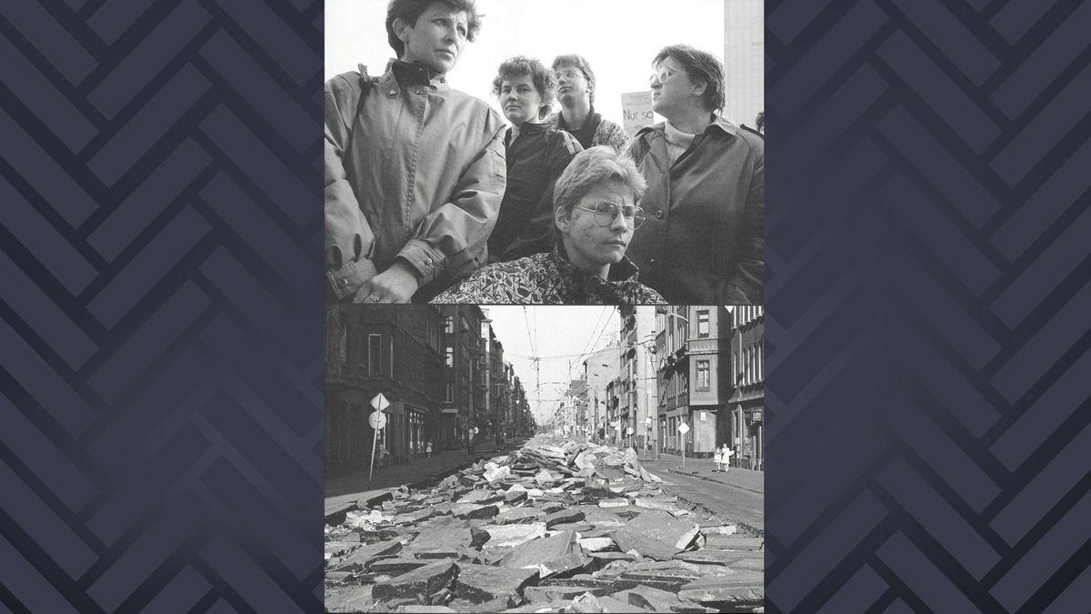 """Buchcover """"Das Jahr 1990 freilegen"""": zwei Scharzweiß-Bilder übereinander (Menschen in Nahaufnahme, kaputter Asphalt auf einer Straße)"""