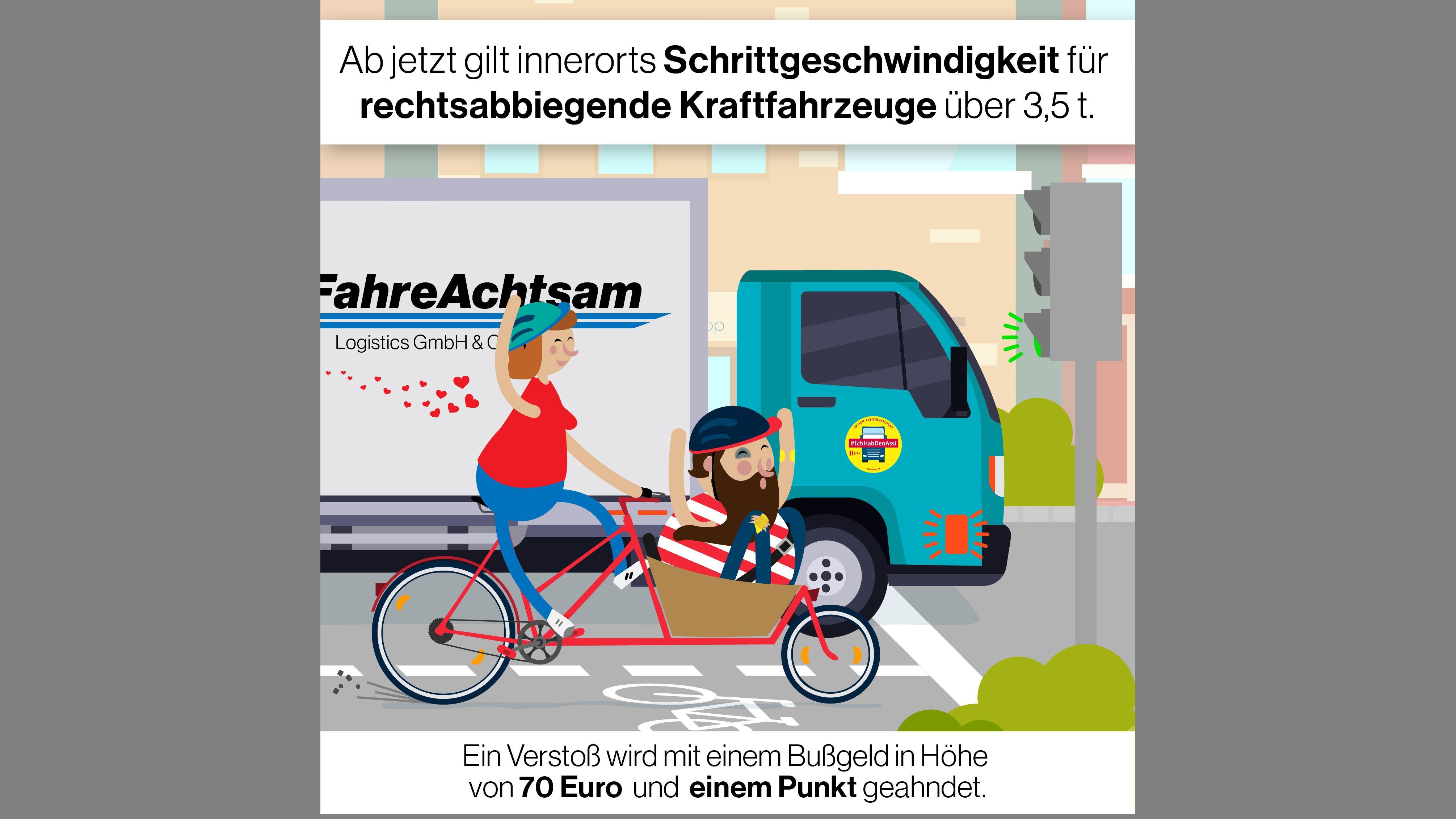 Grafik zu den neuen Verkehrsregeln: Schrittgeschwindigkeit beim Rechtsabbiegen für Fahrzeuge über 3,5 t.