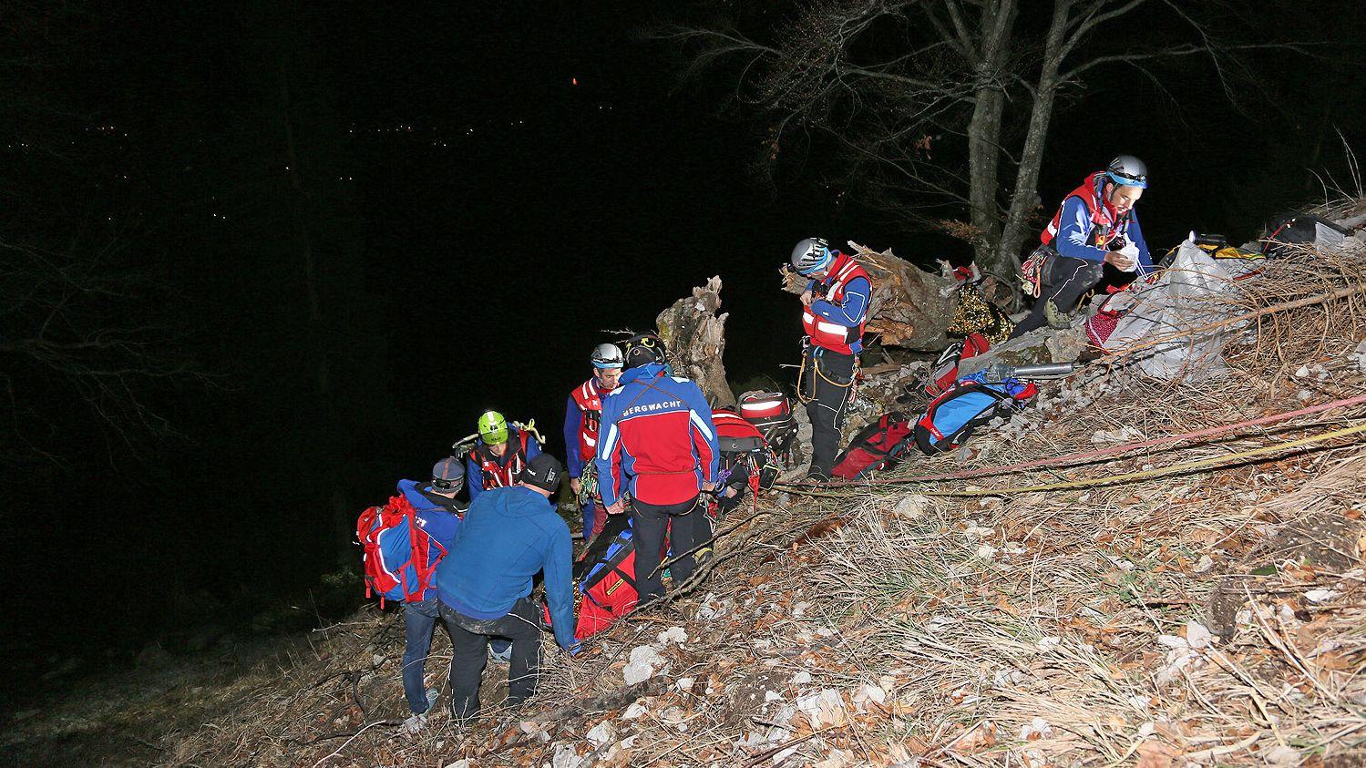 Rettung des Abgestürzten am Jagersteig.