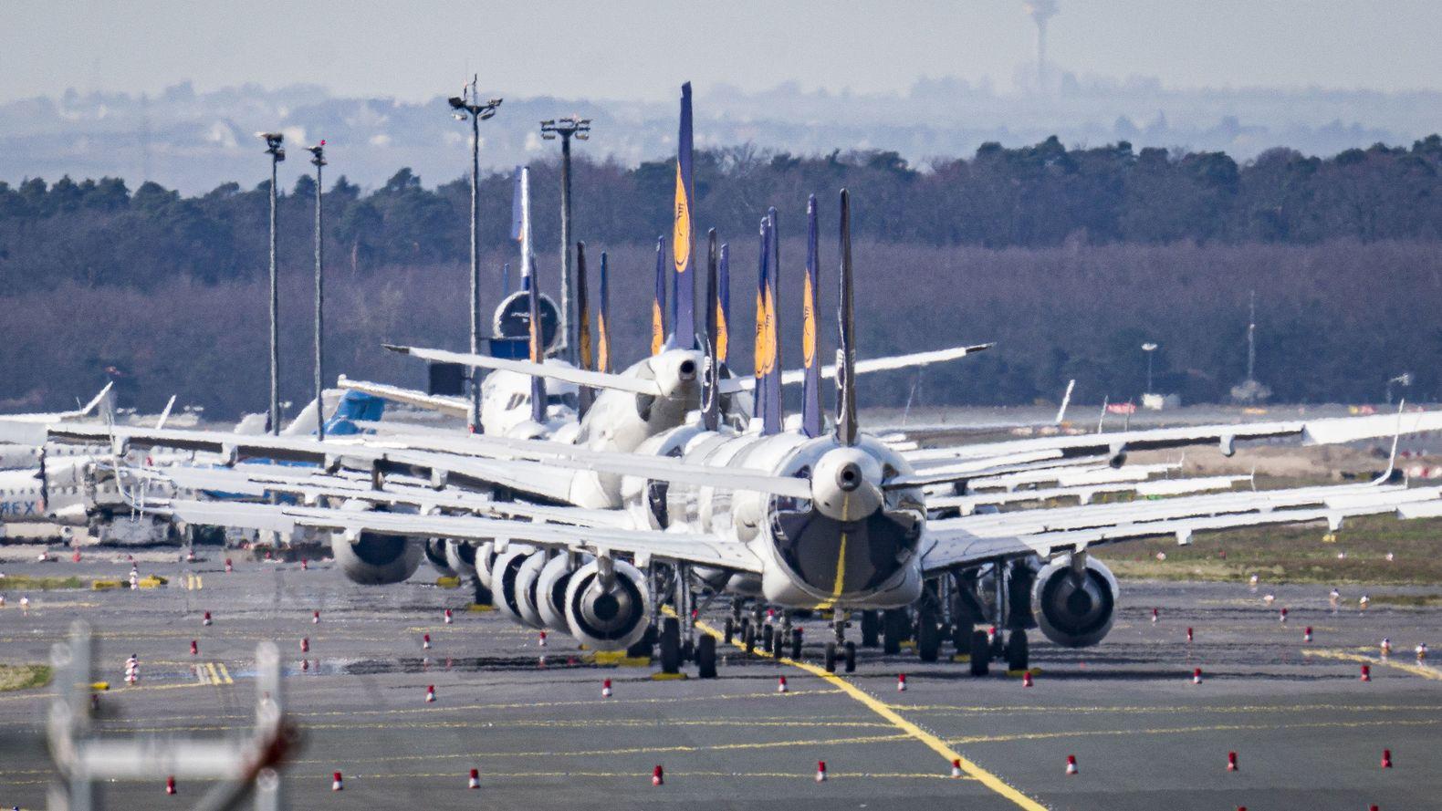 Flugzeuge der Lufthansa sind am Flughafen Frankfurt abgestellt