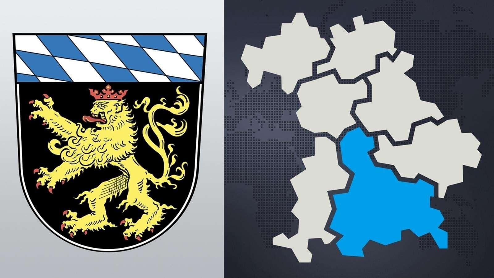 Wappen und Kartenausschnitt von Oberbayern