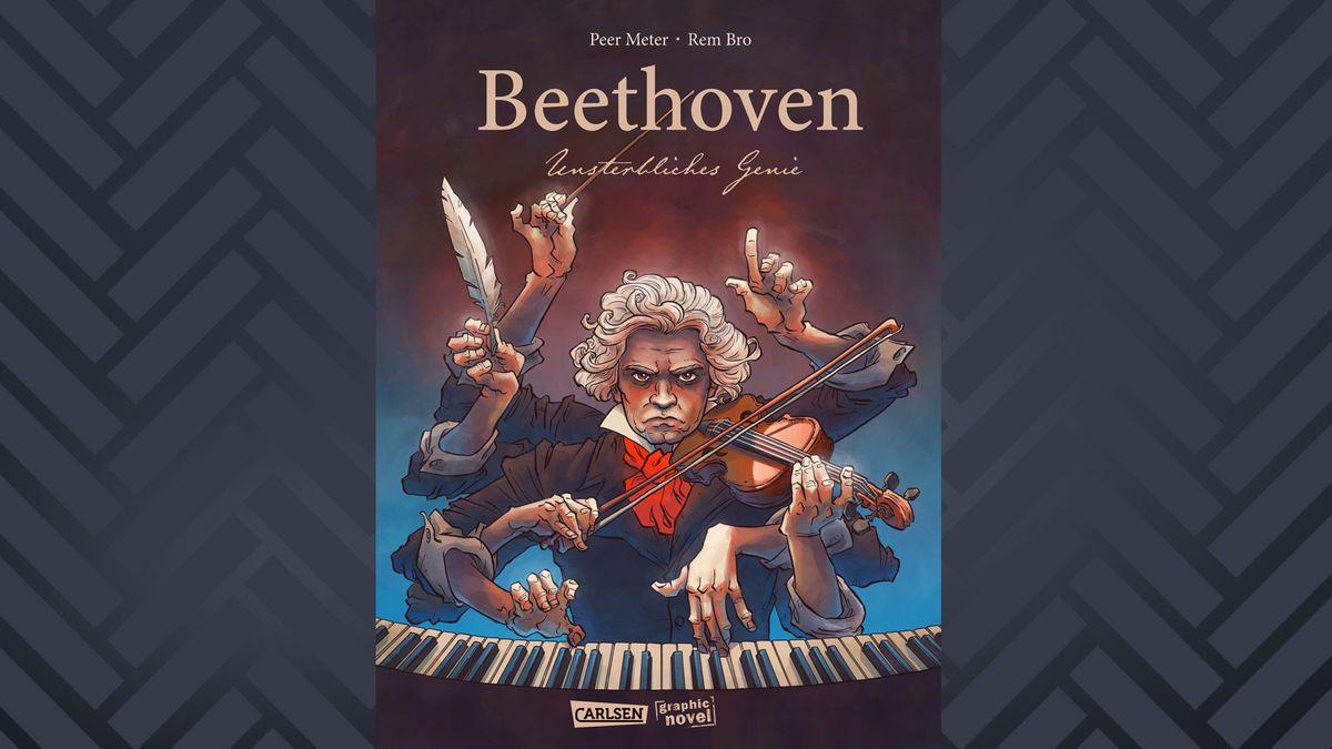 """Auf dem Cover der Graphic Novel """"Beethoven. Unsterbliches Genie"""" ist Ludwig van Beethoven mit sieben Armen abgebildet – sie illustrieren seine zahlreichen Talente"""