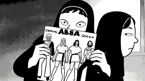 """Man sieht ein iranisches Mädchen mit Kopftuch, das eine LP von ABBA in der Hand hält - """"Dancing Queen""""."""