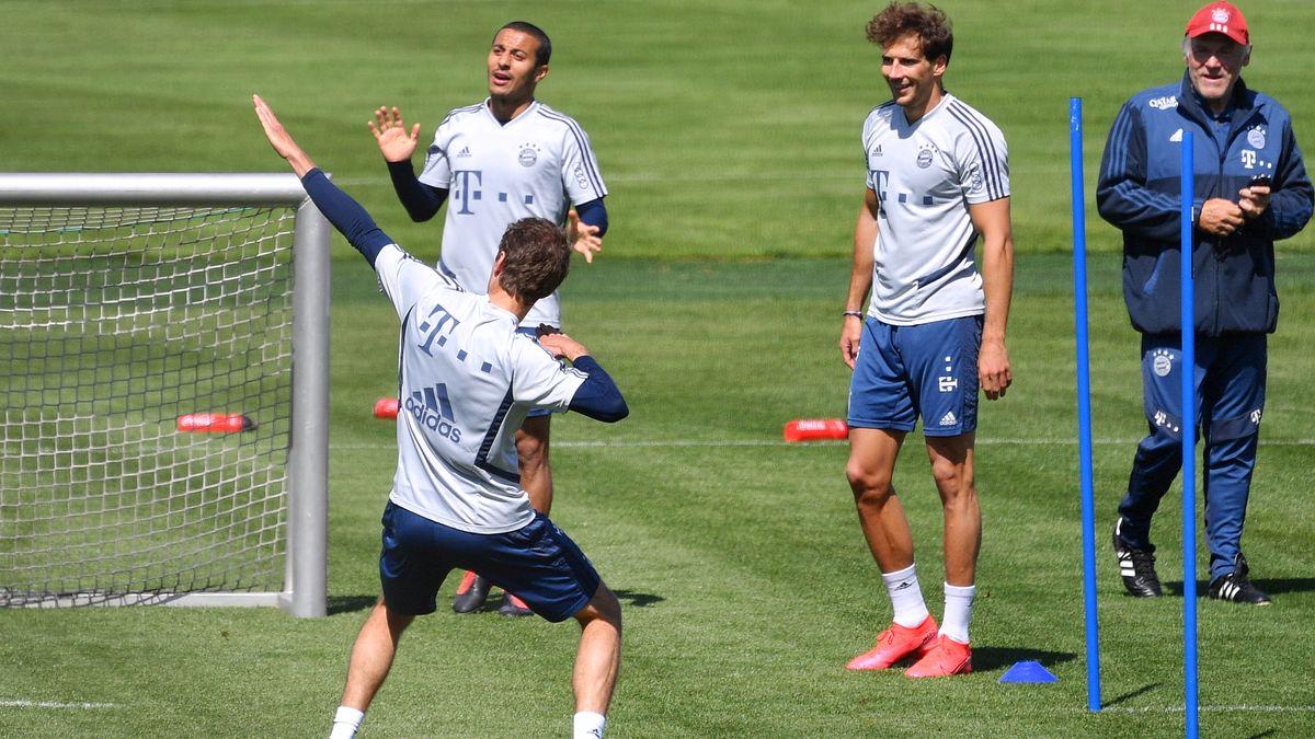 Der FCB hat Spaß am Training.