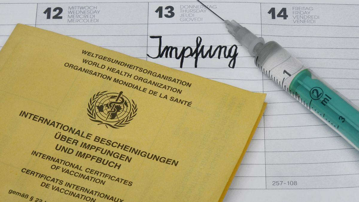 Impfausweis, Kalender und Spritze