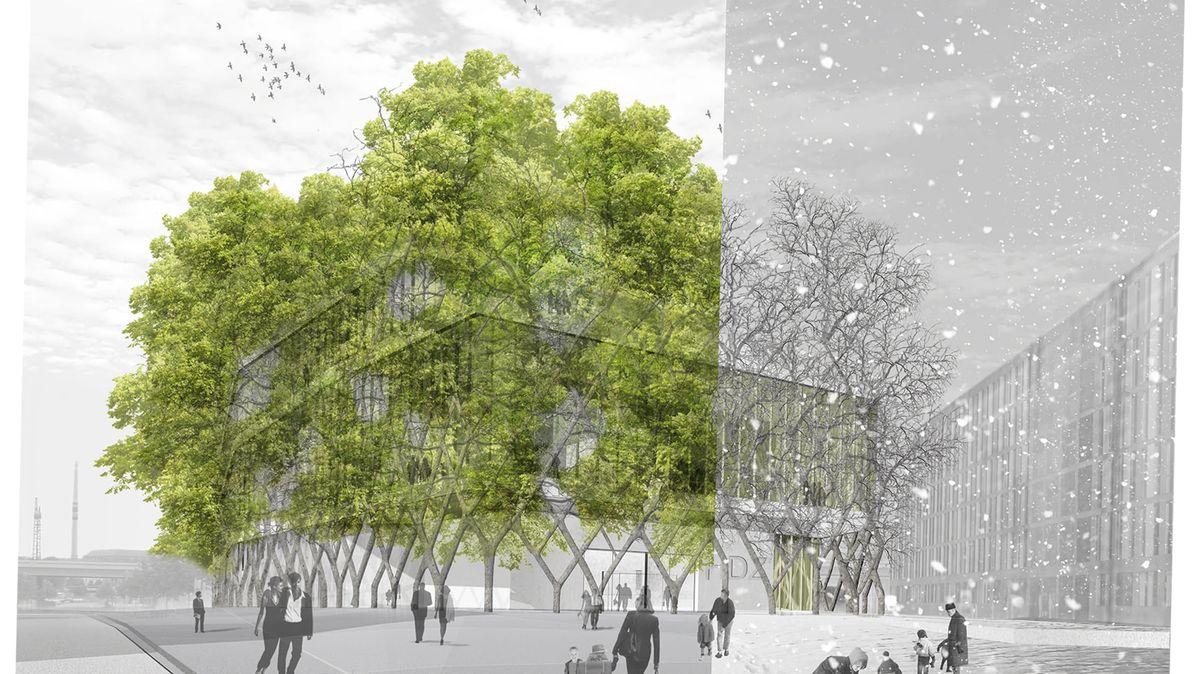 So sah der Entwurf von Ferdinand Ludwig und Daniel Schönle für das House of Future (heute: Futurium) in Berlin aus. Die Baum-Fassade sorgt im Sommer für angenehme Kühlung.