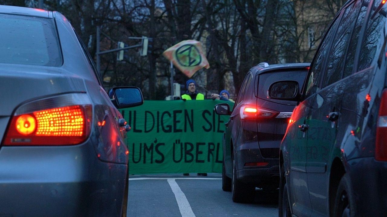 Straßenblockade Augsburg Extinction Rebellion