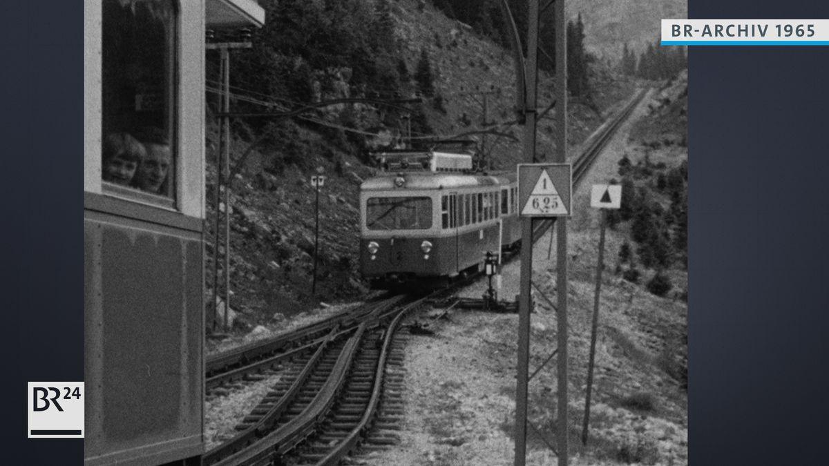 Zugspitzbahn auf dem Weg nach oben