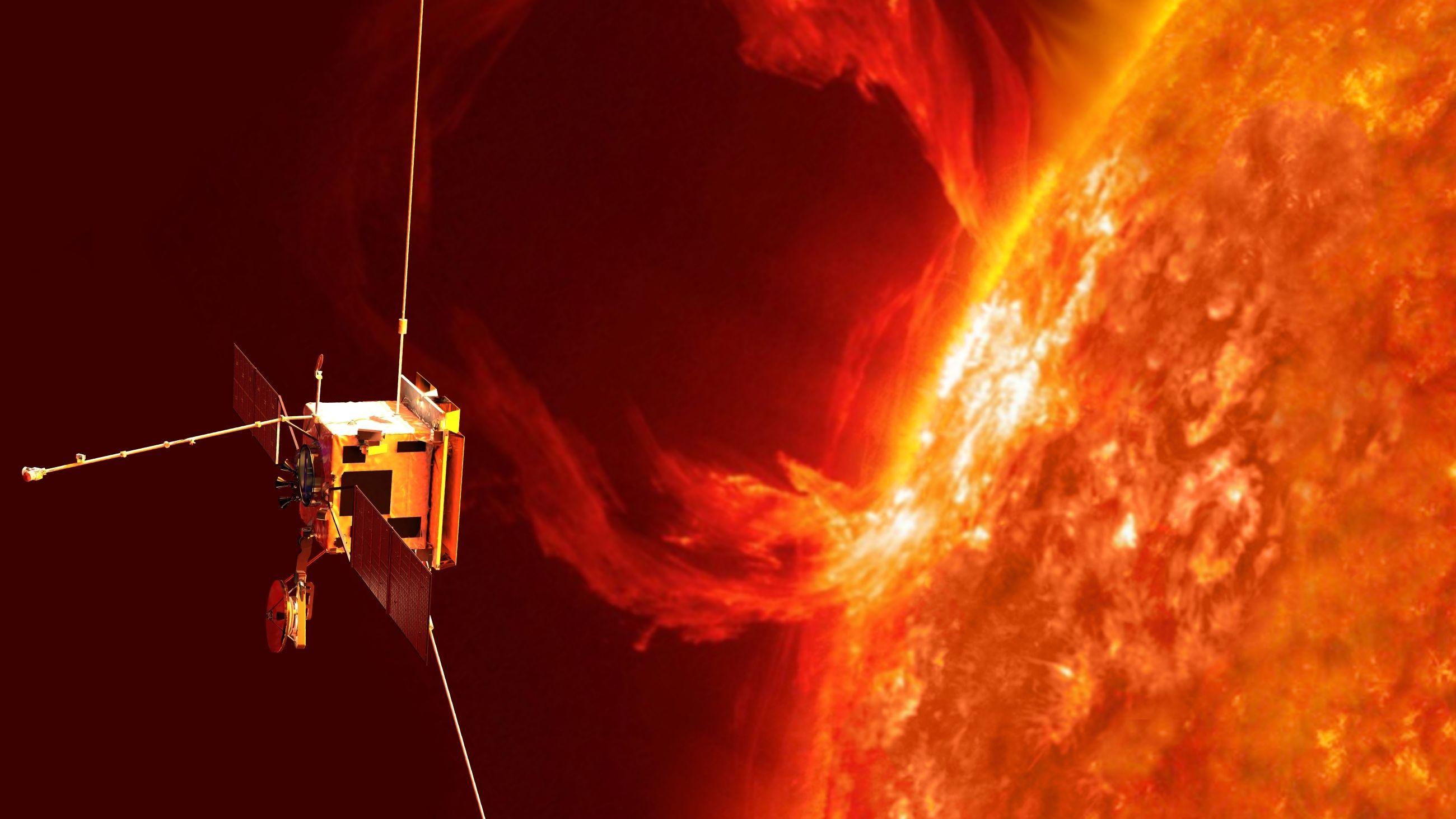 Solar Orbiter in der Nähe der Sonne (künstlerische Darstellung)