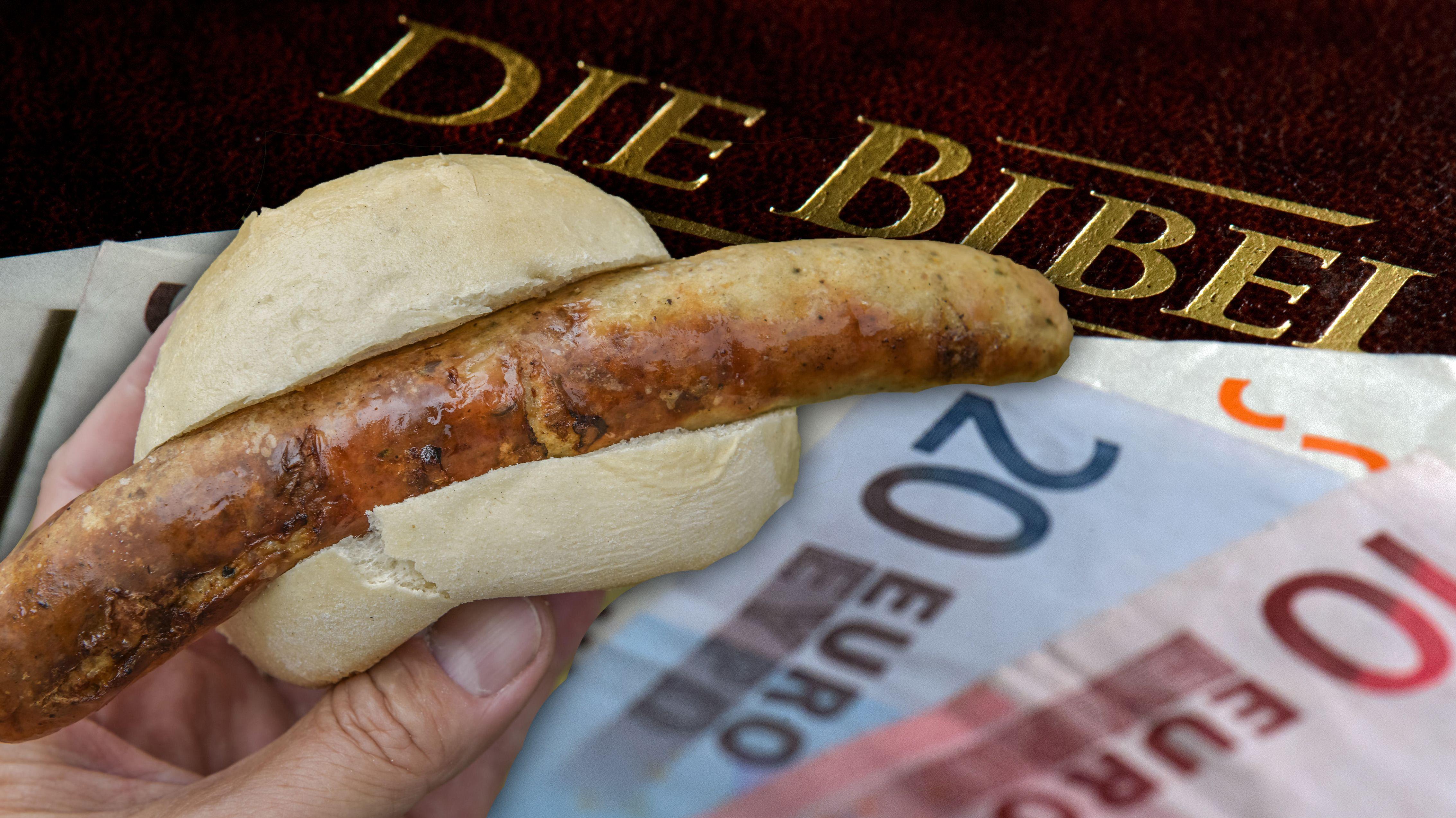 Bratwurstsemmel und Geldscheine vor einer Bibel