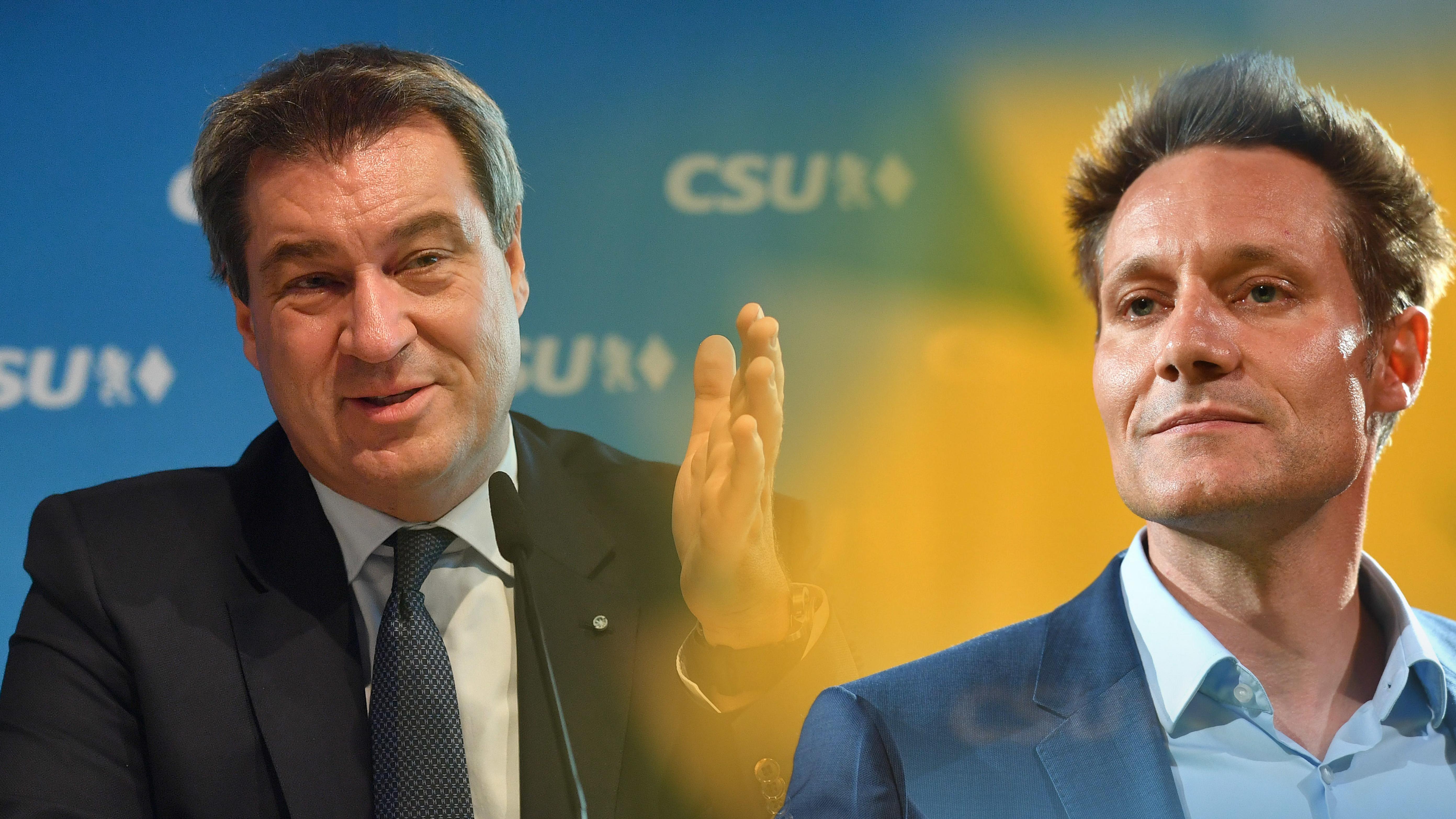 Montage: Ministerpräsident Markus Söder und Grünen-Spitzenkandidat Ludwig Hartmann