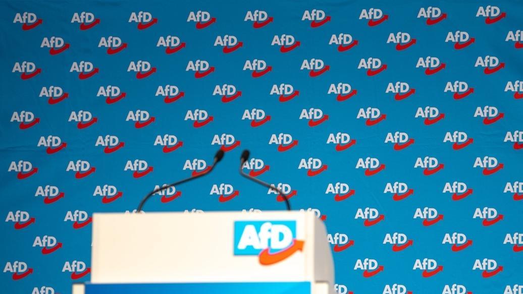 11.01.2019, Sachsen, Riesa: Zahlreiche Logos der AfD sind bei der Europawahlversammlung der Alternative für Deutschland in der Sachsen-Arena auf einem Banner hinter dem Rednerpult zu sehen.