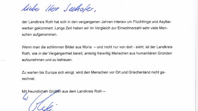 Auschnitt aus dem Brief des Rother Landrats Herbert Eckstein an Horst Seehofer.