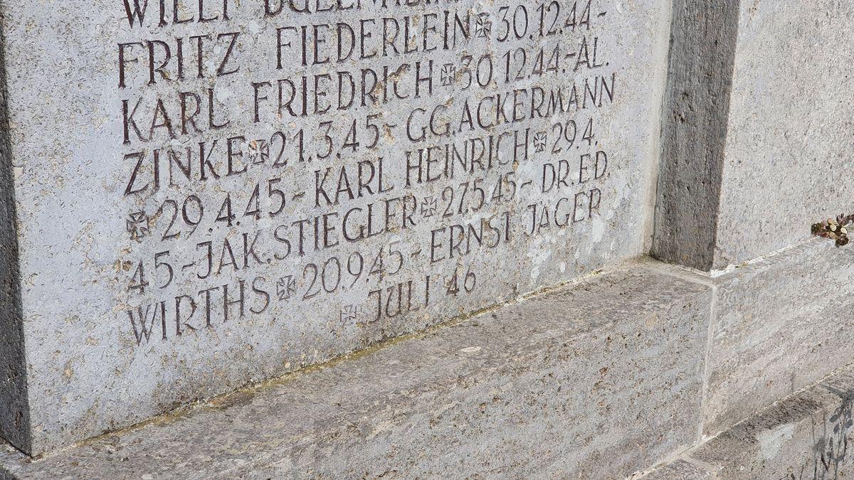 Der Name Eduard Wirths auf dem Kriegerdenkmal in Geroldshausen