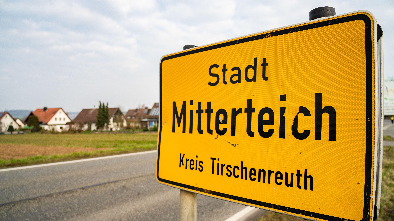 Ortsschild von Mitterteich im Landkreis Tirschenreuth
