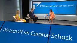 Im Fensehstudio sind zu sehen: Verena Bentele, Vdk, Markus Söder, bayerischer Ministerpräsident, und Moderatorin Ursula Heller    Bild:BR