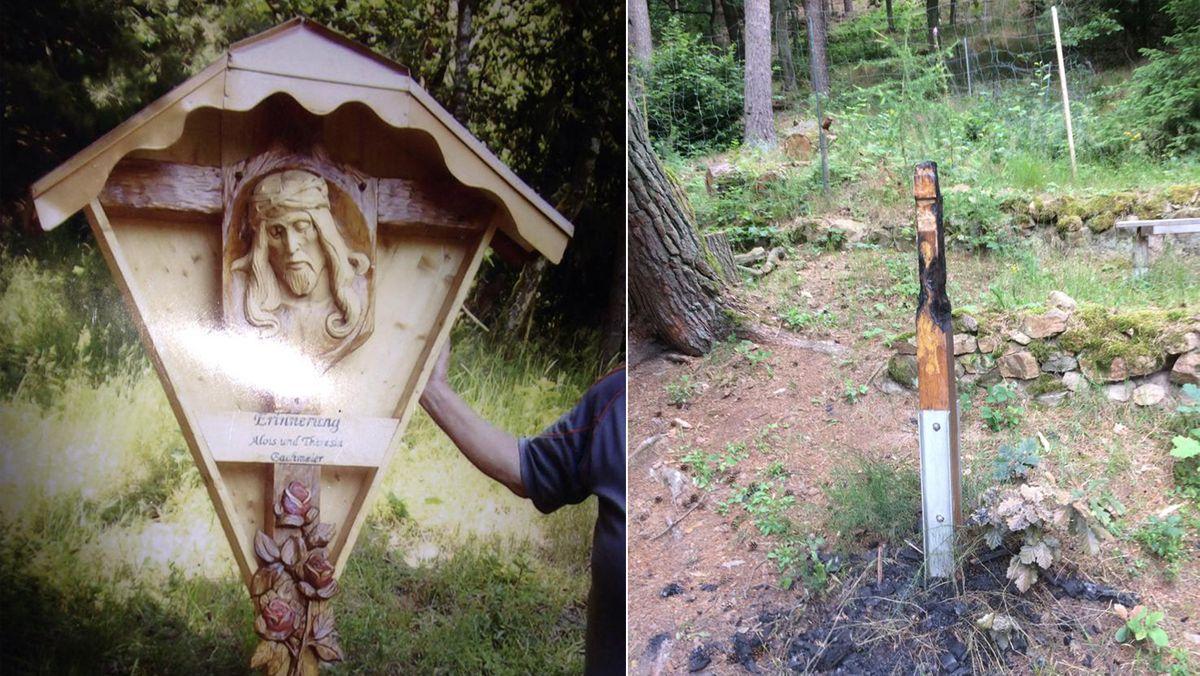 Das holzgeschnitzte, knapp zwei Meter große Denkmal brannte völlig ab - übrig blieben nur verkohlte Reste.