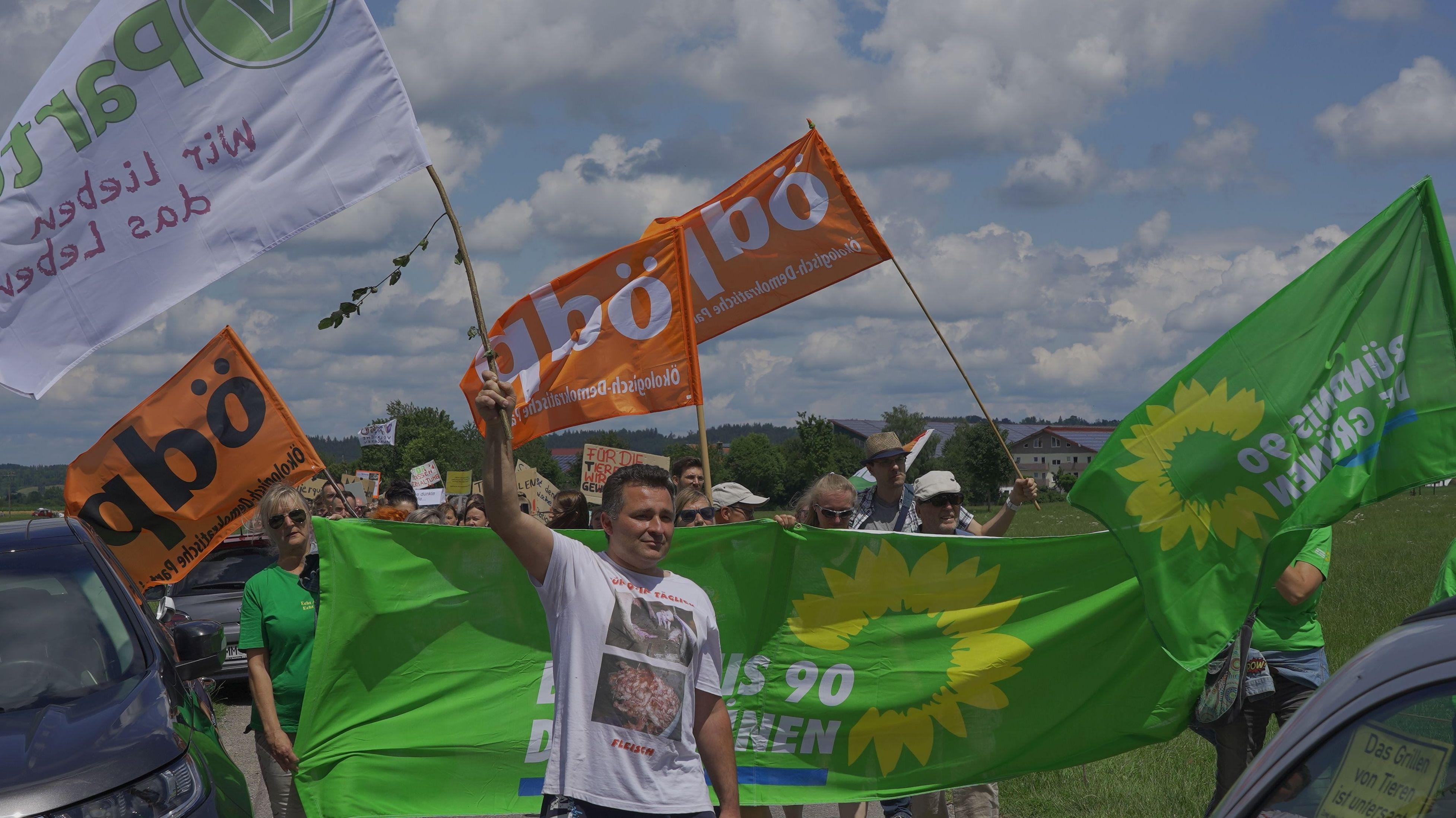 Demonstration mit Parteifahnen
