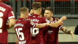 Torjubel beim 1. FC Nürnberg in der Partie gegen Hansa Rostock | Bild:picture-alliance/dpa