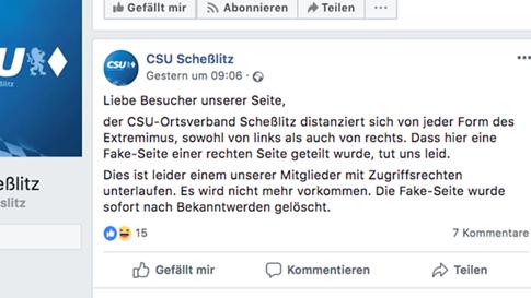 Screenshot: Facebook-Post der CSU Scheßlitz mit der Information und der Entschuldigung