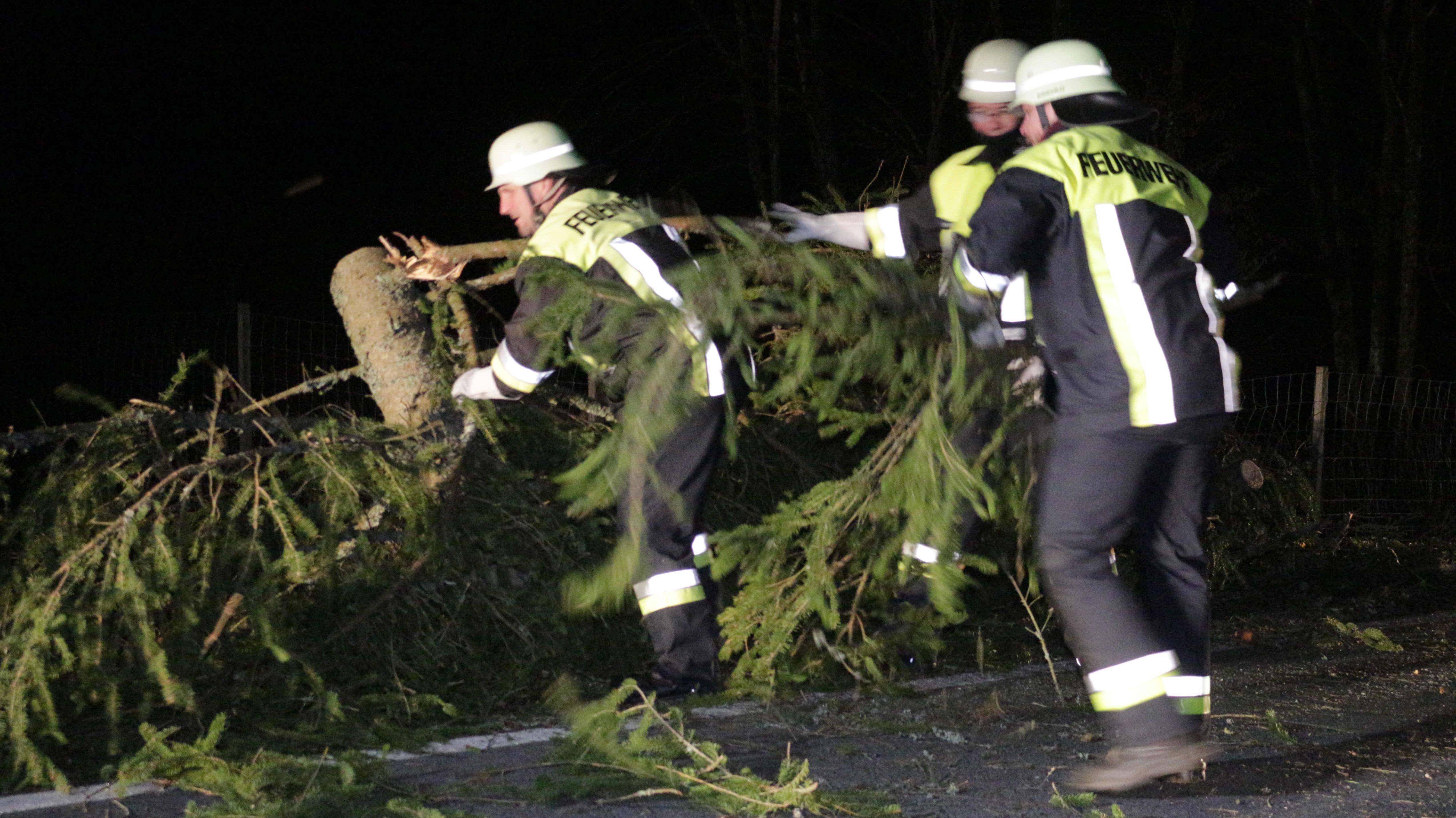 Drei Feuerwehrmänner räumen in der Dunkelheit eine Straße von einem umgeknickten Baum frei.