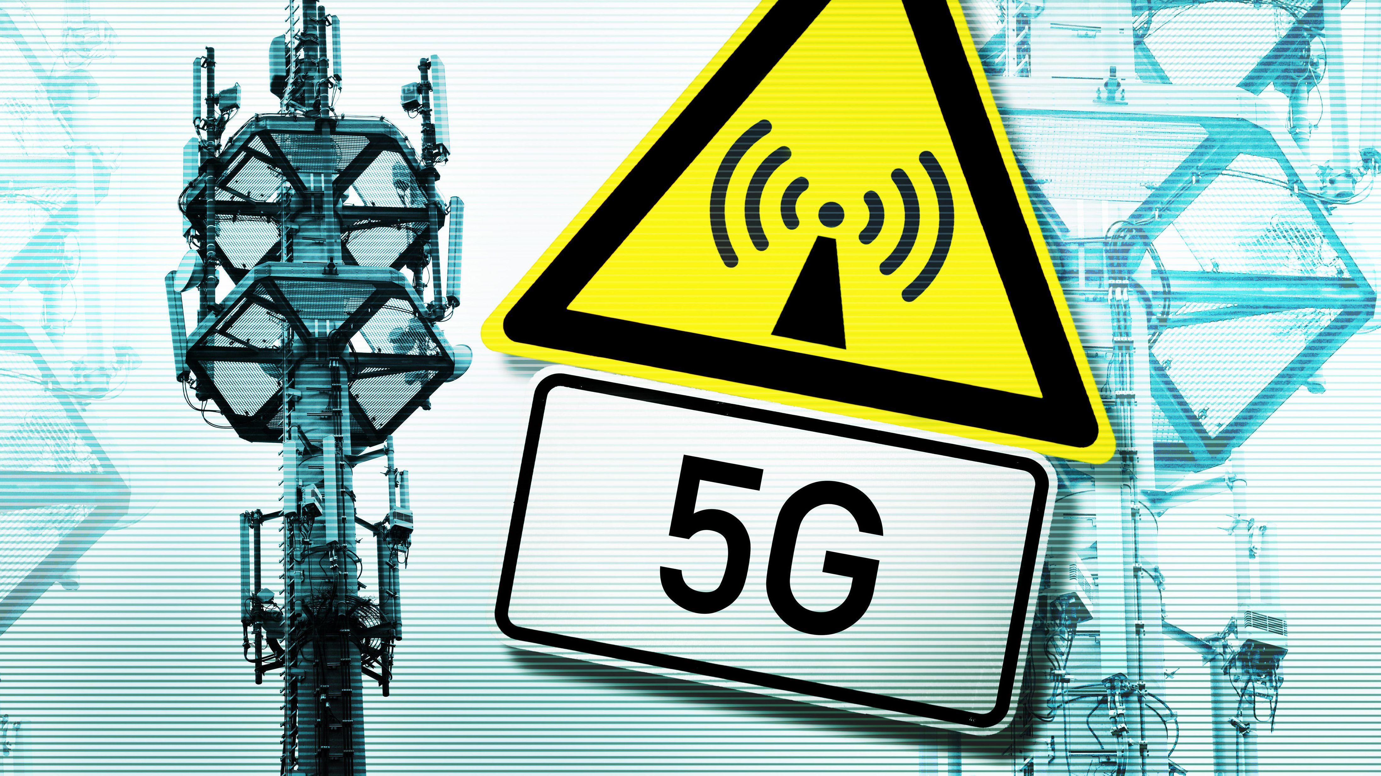 Mobilfunkmast und Strahlungssymbol mit der Beschriftung 5G.