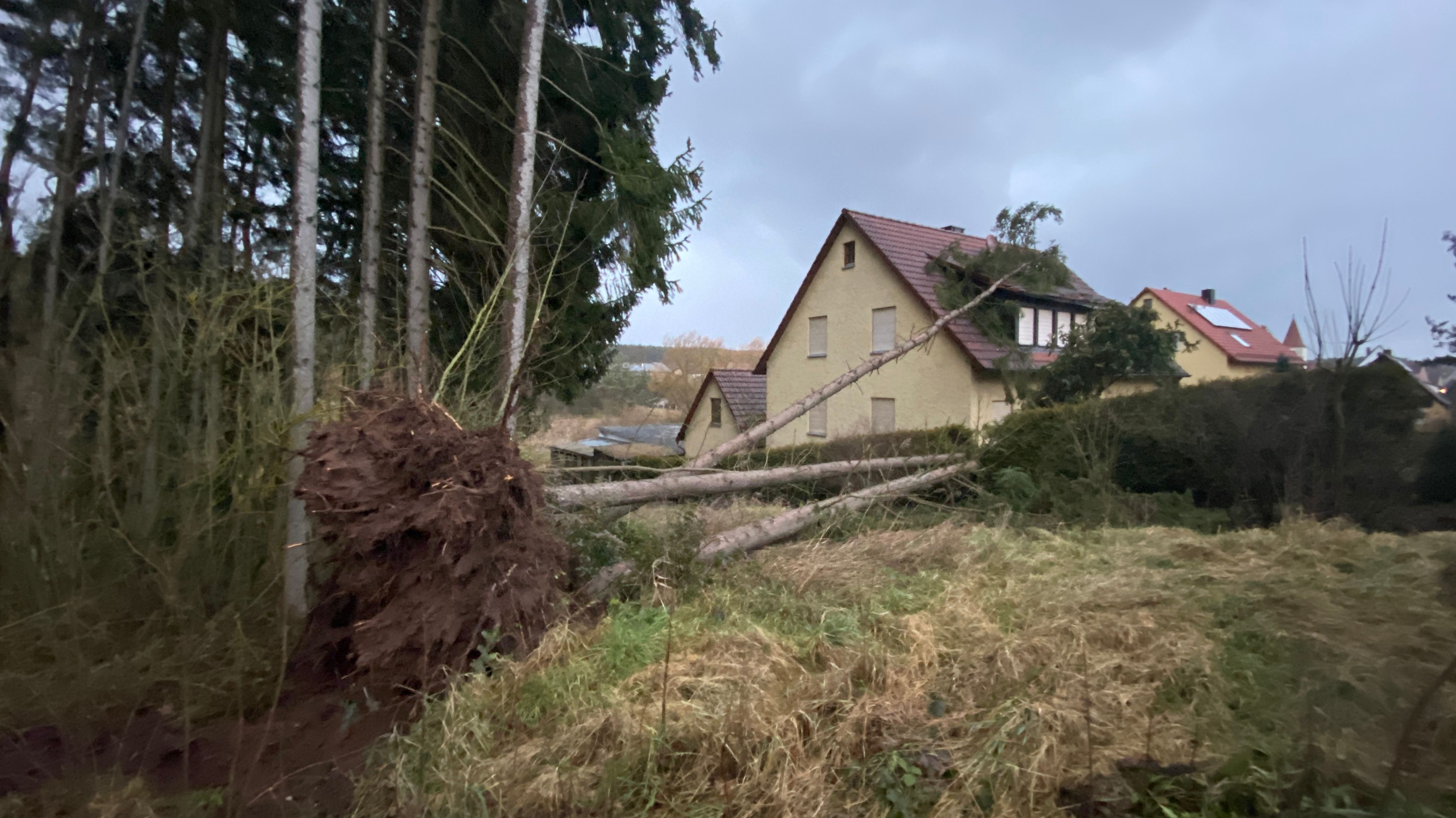 Umgestürzte Bäume im Landkreis Ansbach haben ein Haus getroffen