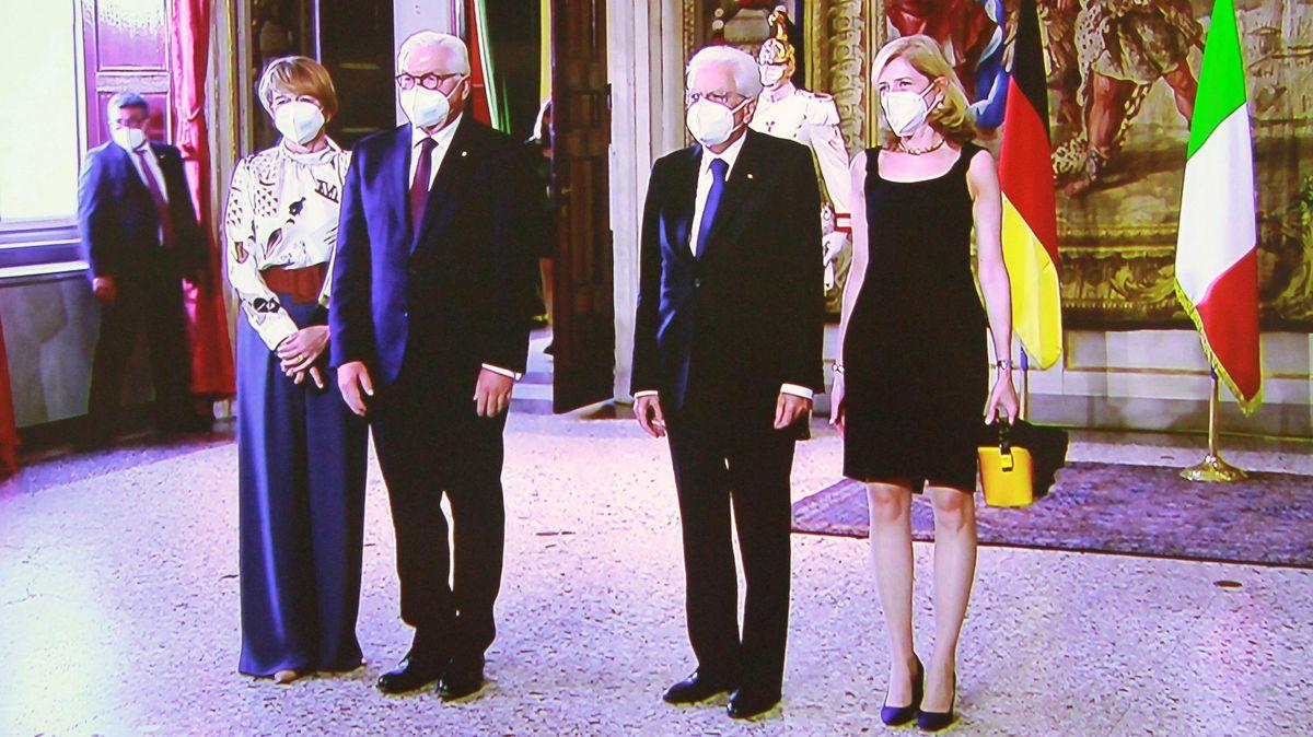Frank-Walter Steinmeier am 17.09.2020 in Mailand beim Treffen mit Sergio Mattarella und dessen Tocher Laura (rechts).