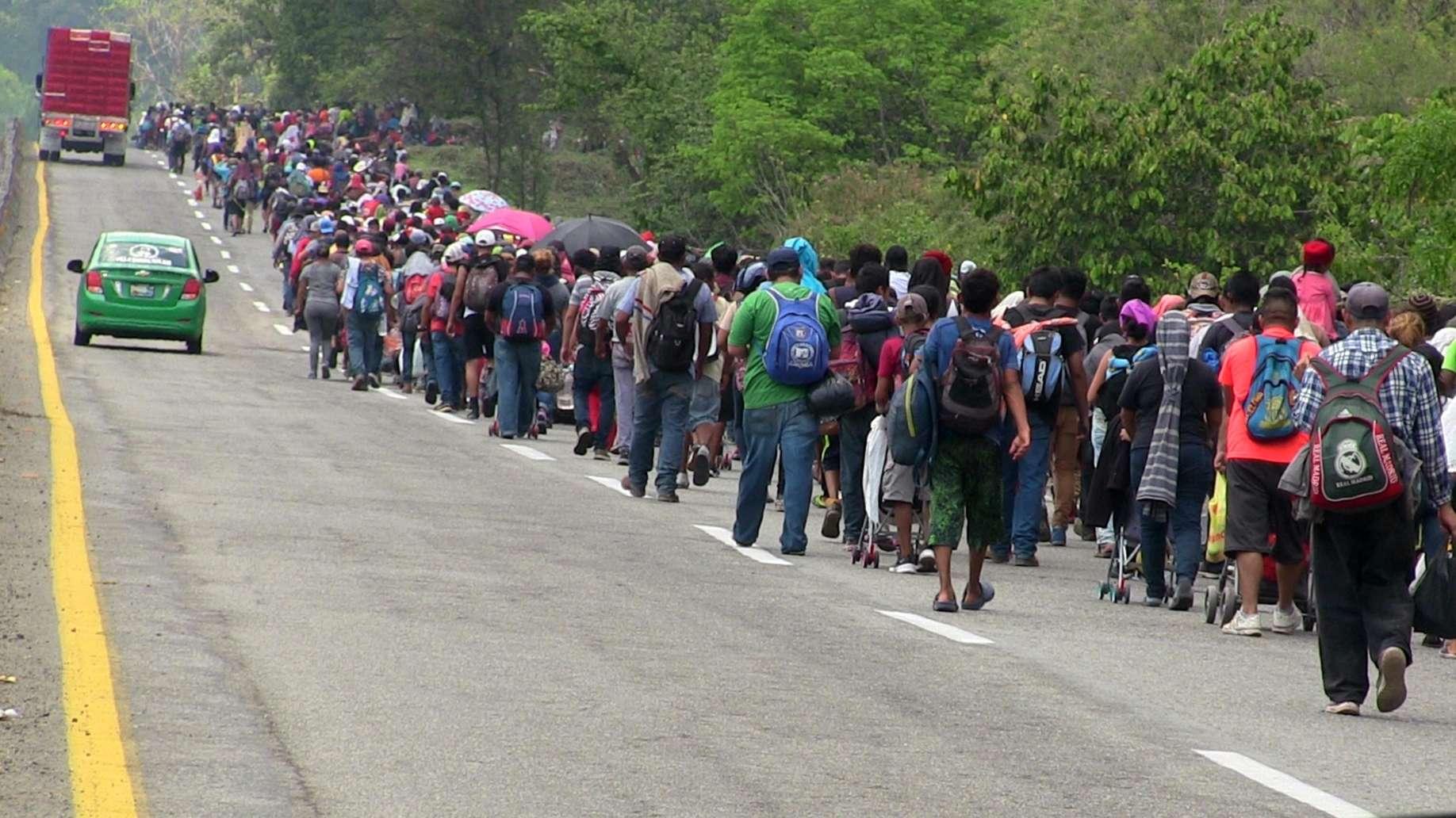 25.03.2019, Mexiko, Huehuetán: Migranten auf der Flucht aus der Heimat Richtung USA.