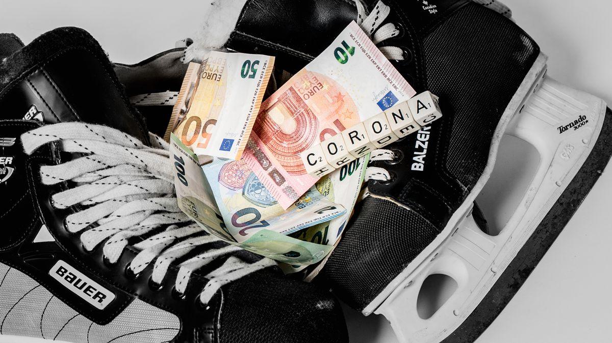 Eishockeystiefel, Geldscheine, Würfel mit den Buchstaben CORONA